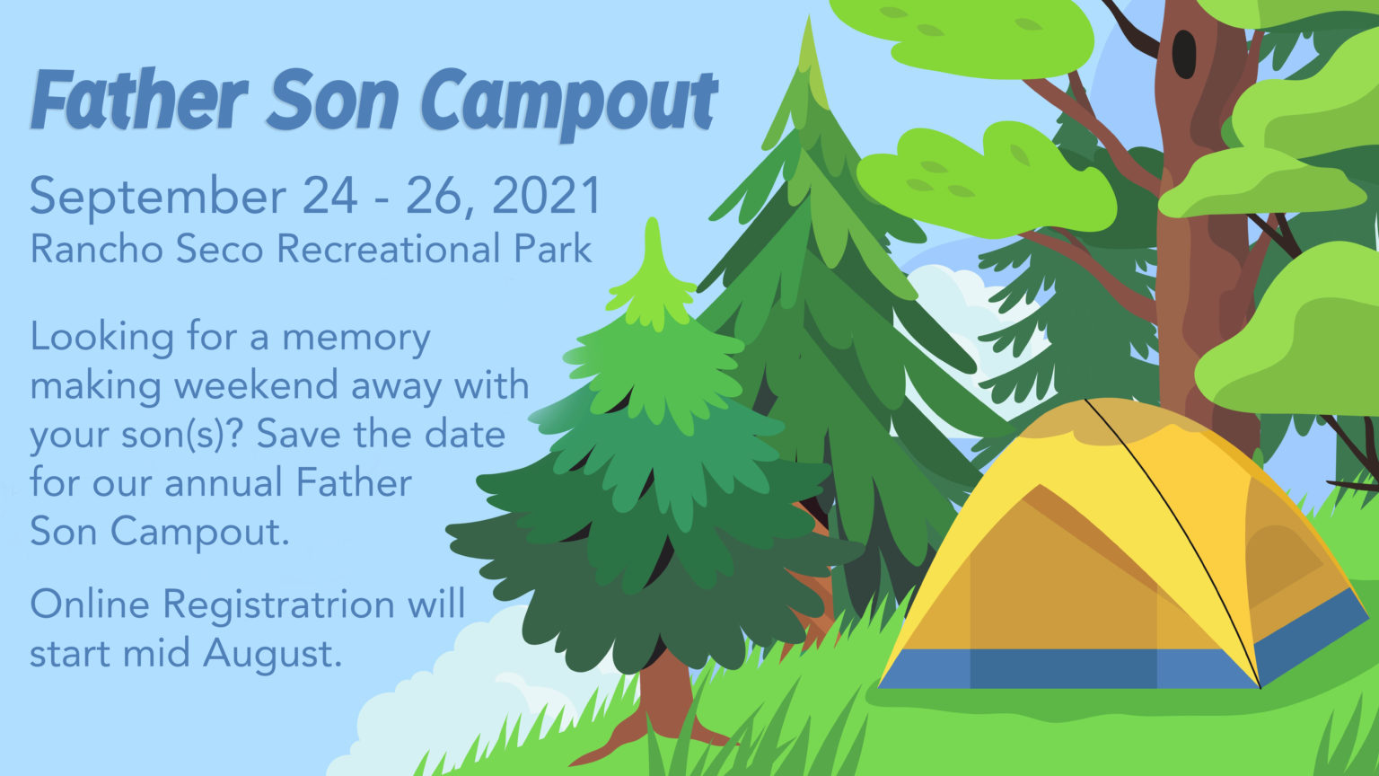 Vector landscape or panorama of a camping place in a forest or park. Outdoor adventure and nature eco tourism concept illustration for banners, flyers, landing page design. Campsite in woods scenery.